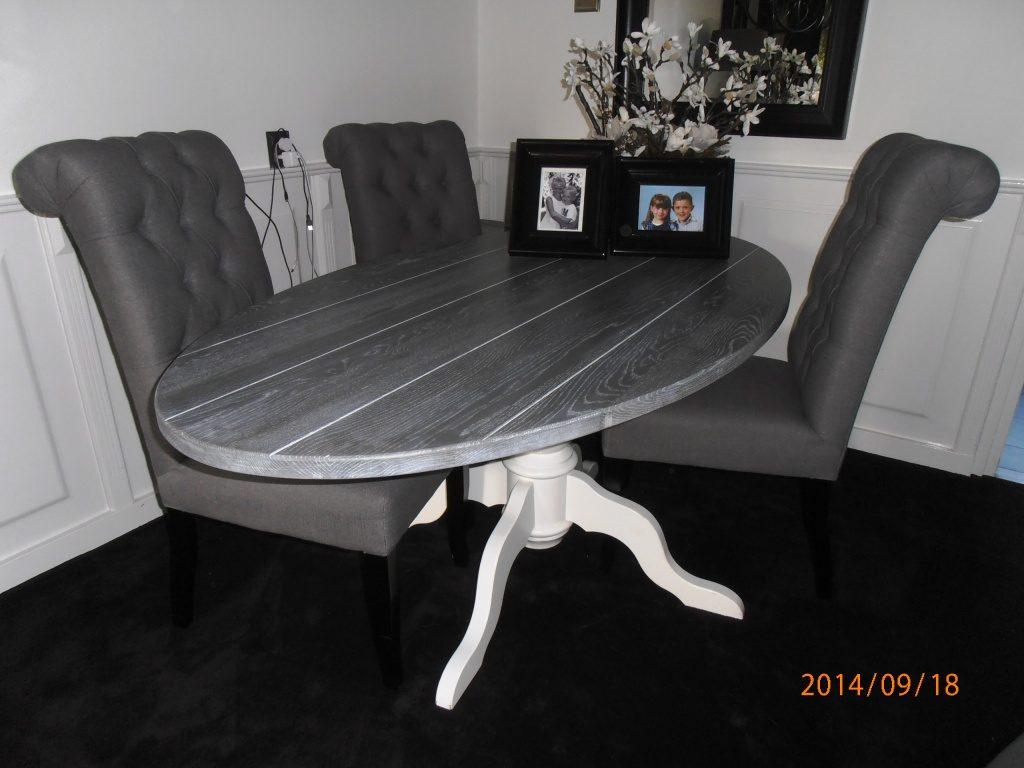 eiken vergrijsde ovale tafel